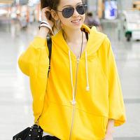Novelty Women Hoodie Scuba Zippers Design Loose Bat Sleeve Thin Cardigan Fashion Casual Autumn Cotton Coats 5081