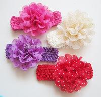50pcs/lot Polka Dot Chiffon Fabric Flowers Perfect for Baby Headbands