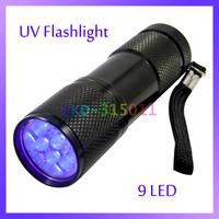 Portable Aluminum Alloy 9 LED UV Torch Flashlight Ultra Violet Blacklight Detection Currency Detector