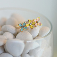 2014 Korea Fashion Elegant Romantic Charm Luxurious Sweet cute fresh little Rhinestone flower Daisy Rings women wholesale PT32