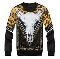 LJ1463M Men Women Leopard Print 3d Printing Long Sleeve Pullover Sweater Tops, Hoodies Sweatshirts Clothing Clothes M L XL