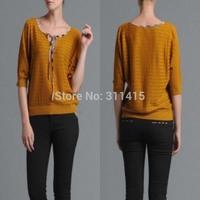 Free Shipping New 2014 Women's Fashion Brand Tencel Wool O-neck Casual Sweater/Half Sleeve Sweaters/cardigan F120s94025 S-XL