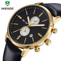2014 Weide watch wh3302-1 white dial black Genuine leather band waterproof wr30m men quartz watch