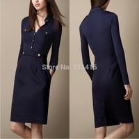 New Arrival 2013 Women Fashion British Winter Long Sleeve Vintage Dress/Designer Knee Length Slim Fit Cotton dresses S-XXL BLUE