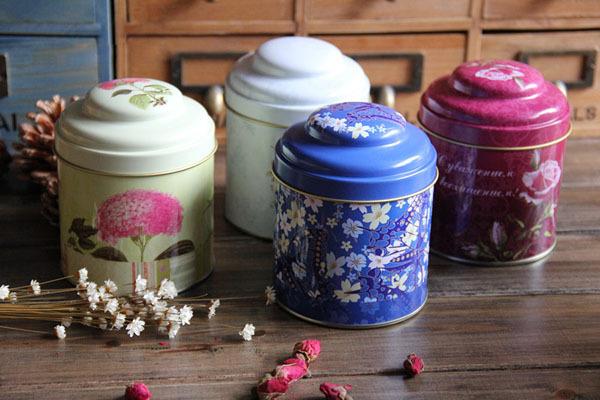 Estilo Europeu Ferro Hermético Mini Tea Caddy armazenamento de café caixa de chá vasilha com 1pcs dupla vedação da tampa , 4pcs / set(China (Mainland))