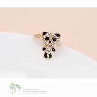 2014 Hot sale Korea Fashion Elegant Charm Cute Full Rhinestone Bear Rings Animal Shape Romantic Wedding Jewelry Wholesale PT32