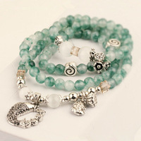 Natural green chalcedony beads bracelet fashion women men jewelry vintage fish pendant wristband for best friends 0258