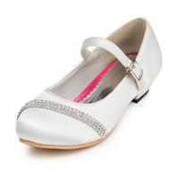 2014 New Girls Wedding Shoes Satin Flower Girls' Wedding Flat Heel Comfort Flats with Rhinestone Shoes(More colors) JYG621