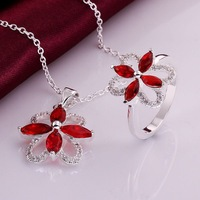 XMAS Gift 925 Silver Necklace Ring Set ! Luxury Big Red Crystal Hollow Leaf Women Silver Jewelry S764 Exquisite Packing