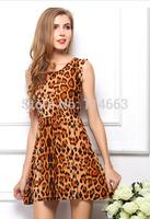 Women's Dress Large Size Milk Silk Dress Leopard Feifei Sleeve  Dress 1016