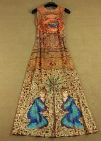 2014 fashion character print sleeveless sicilia retro dress full dress runway
