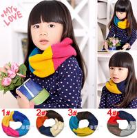 5pcs/lot Rainbow style children woolen neck scarf baby winter neck wraps neckerchief free shipping