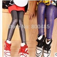 new styles 2014 autumn girl candy color flash children Leggings Bright surface 4colors 5pcs/lot wholesale
