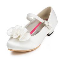 2014 New Girls Wedding Shoes Satin Flower Girls' Wedding Flat Heel Comfort Flats with Rhinestone Shoes(More colors) JYG624
