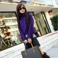 Women Korean Fashion Fit Slim Temperament Woolen Collar Jacket Turtleneck Coat Outwear 5 Colors R810