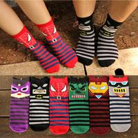 2014 Autumn New Hot Sale Women/man Hero cotton socks Three-dimensional lovers Sock Cartoon Iron Man Spider-Man Batman Hulk socks