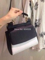 2014 white black  original leather bag  new fashion  wholesale and retail brand  women design handbag