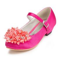 2014 New Girls Wedding Shoes Satin Flower Girls' Wedding Flat Heel Comfort Flats with Rhinestone Shoes(More colors) JYG626