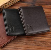 2014 new fashion men wallets pu leather brand soild pattern designer wallet black brown purses Free shipping
