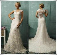 Cap Sleeves V-neck Lace Mermaid Wedding Dresses Covered Back 2015 New Arrival Bridal Gowns