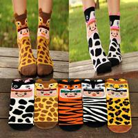 2014 Autumn New Hot Sale  Women's Leopard grain cotton sock Animal Cartoon socks Creative girl's candy color socks