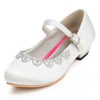 2014 New Girls Wedding Shoes Satin Flower Girls' Wedding Flat Heel Comfort Flats with Rhinestone Shoes(More colors) JYG634