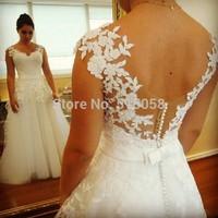 New Elegant V-neck Cap Sleeves Low Back A-line Wedding Gowns Dresses 2014 Vestidos De Novias
