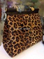 2014 leopard purse 30CM  original leather bag  new fashion  wholesale and retail brand  women design handbag