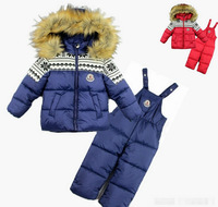 Russia Free Shipping Children Clothing Set Cartoon Cotton Down Coat Ski Suit 2 pieces overalls Children's Winter Clothing Sets