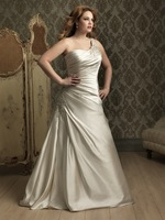 2014New arrival beautiful Strapless back Lace up A-line with beading Satin sexy uniqueWhite/Ivory long Plus Size Wedding Dresses