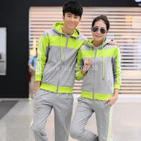 Hot 2014 Spring Fashion Sweatshirt Women Sport suit Elegant casual Woman and Men set Coat+Pants 2pcs Sweat Suit Lovers Tracksuit