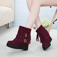 New 2014 Women Shoes Snow Boots Warm Increased Flatform Genuine Leather Winter Boots Fashion Shoes Woman