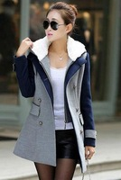 2014 new autumn and winter double-breasted long coat with hood, two-piece leisure thick woolen cloth coat