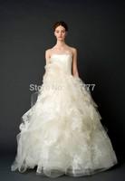 Charismatic Ballgown Strapless Court Train Organza Lace Appliques Wedding Gowns Bridal Dresses