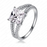 whit Box fashion Wedding Party women Lady silver Jewelry Zircon CZ gemstone crystal Gorgeous Ring jewelry  Platinum gold Plated