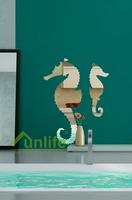 Funlife 56x71cm Cartoon Seahorse Animal Reflective Chrome Mirror-like Wall Stickers Acrylic Mirror Decals For Kids Room RFS030