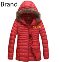 Free shipping,2014 winter brand women long down jacket coat fashion design slim fit 5 colors size M-2XL