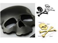 2sets/ lot  Crossbones 3D Skull Demon Skull Bone Metal Bone Logo Badge 3M Emblem Badge Decal Sticker  Suv Car Color random