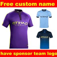 3RD  purple City jersey 14 15 KUN AGUERO TOURE YAYA Top Thai Quality Soccer Jersey Football Shirt