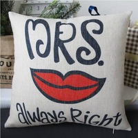 """PX1001 Simple Style Handmade Mrs Always Right Throw Pillow Case Cushion Cover Square 18"""" 45cm"""