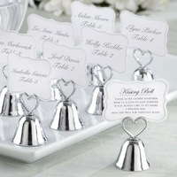 Silver Heart Bell Place Card Holder Wedding favors with matching card 45PCS for table card holders Free shipping
