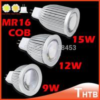 10pcs/lot Fress Shipping High Power MR16 9W 12W 15W SMD COB LED Spotlight Bulb Cool/Warm White LED light Lamp bumb lamps
