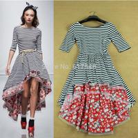 Pretty Women Formal Low Front Short Back Long Stripe Dovetail Dress Sexy Deep V-Back Floral Print Cotton Dress Romantic