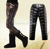 2014 high quality new Children winter boy girl black/red warm down pants kid crown leggings pants for boys girls