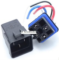 High Quality 10PCS automobile  car auto relay 12v 40A 4PIN Waterproof integrated  relay socket  Free Shipping