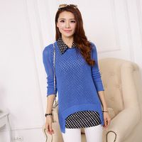 2014 new arrival spring summer autumn women fashion Two sets of bottoming shirt  Hollow sweaters