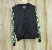 2014 New women fashion baseball jacket Dogs foral sleeve casual baseball jacket baseball uniform jacket women hoodie men sweater