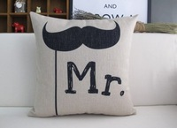 """PX1005 Simple Mr Mustache Handmade Throw Pillow Case Cushion Cover Square 18"""" 45cm"""