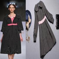 Runway fashion 2014 polka dot embroidery design long overcoat long-sleeve slim trench coat