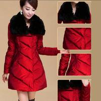 2014 Fashion Noble Slim Long Duck Down Jackets Faux Fur Collar Lady's Warm Women Winter Coats Parkas YFZ28